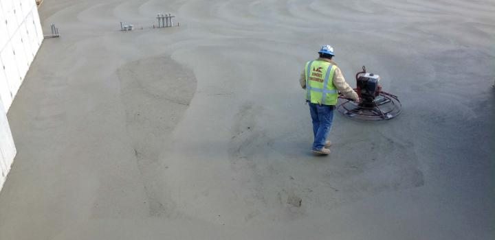 Laying the concrete